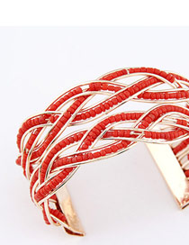 Guardian Red Bohemia Beads Style Alloy Fashion Bangles