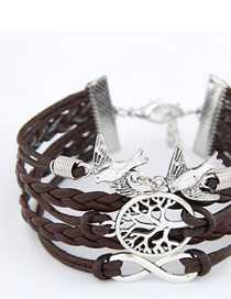 Costume Dark Coffee Life Tree And Birds Design Alloy Korean Fashion Bracelet