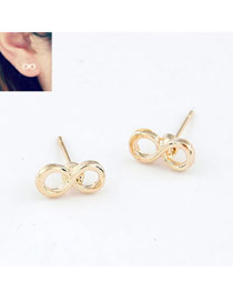 Snowboardi Gold Color Vintage 8 Shape Alloy Stud Earrings