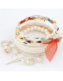Letterhead Red Bowknot Pearl Multilayer Alloy Fashion Bangles