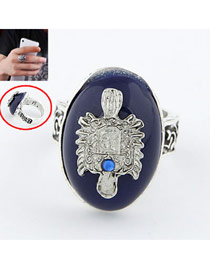 Players Navy Blue Vintage Gemstone Alloy Korean Rings
