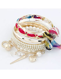 Designs Red Bowknot Pearl Multilayer Alloy Fashion Bangles