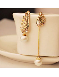 Elegant Gold Color Square Shape Diamond&pearl Decorated Short Chain Necklace
