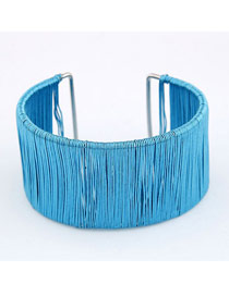 Goth Sea Blue Wide Weave Design Alloy Korean Fashion Bracelet