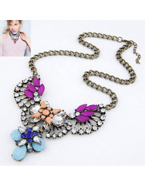 Equestrian Light Blue Sector Shape Water Drop Design Alloy Korean Necklaces