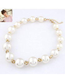 Handmade White Simple Pearl Design Alloy Beaded Necklaces