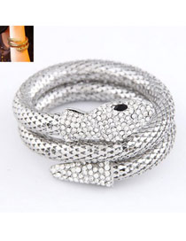 Automatic Silver Color Snake Shape Design Alloy Fashion Bangles