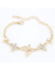 Bendable Gold Butterfly Decorated Design Alloy Korean Fashion Bracelet