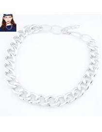 24K Silver Color Simple Chain Design Alloy Chains