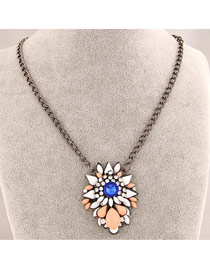 Costume Sapphire Bright Gemstone Decorated Design Alloy Bib Necklaces