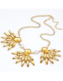 Daisy Champagne Gemstone Decorated Design Alloy Korean Necklaces