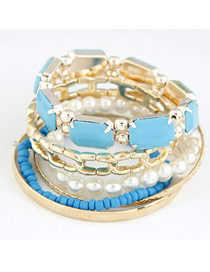 Corduroy Blue Gemstone Decorated Multilayer Design Alloy Fashion Bangles