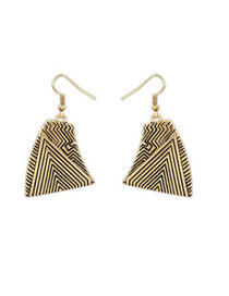 Collapsibl Antique Copper Irregular Shape With Wave Pattern Design Alloy Korean Earrings