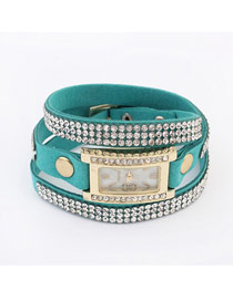 Legal Blue Diamond Decorated Multilayer Simple Design PU Leather Ladies Watches