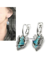 Rosary Blue Butterfly Shape Alloy Stud Earrings