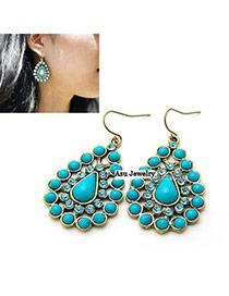 Promotiona Blue Simple Design Alloy Korean Earrings