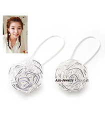 Digital Silver Color Chic Sphere Earrings
