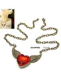 Hiking Bronze Wings With Red Heart Acrylic Bib Necklaces