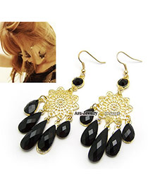 Mexican Black Retro Faceplate Black Drop Alloy Korean Earrings