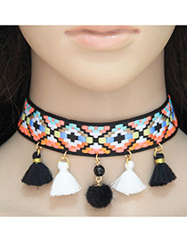 Fashion Multi-color Tassel Decorated Color Matching Choker