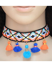 Fashion Blue Tassel&ball Decorated Color Matching Pom Choker