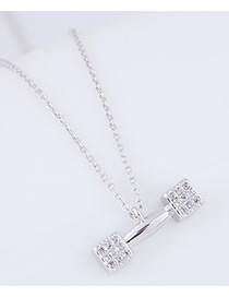 Fashion Silver Color Diamond Decorated Barbell Shape Pure Color Necklace