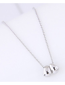 Fashion Silver Color Egg Shape Decorated Pure Color Necklace