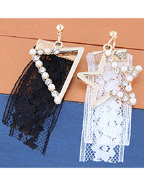 Fashion White+black Lace Decorated Earrings