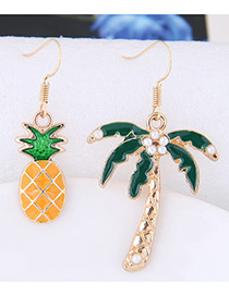 Fahsion Yellow+green Pineapple&tree Shape Decorated Color Matching Earrings