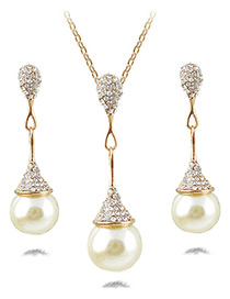 Fashion Champagne Pearls&diamond Decorated Jewelry Sets