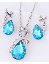 Fashion Blue Water Drop Shape Gemstone Decorated Jewelry Sets