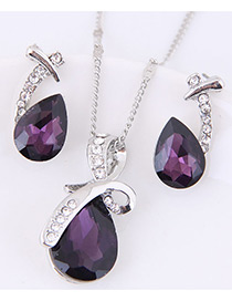 Fashion Purple Water Drop Shape Gemstone Decorated Jewelry Sets