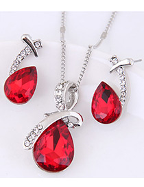 Fashion Red Water Drop Shape Gemstone Decorated Jewelry Sets
