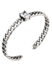 Fashion Silver Color Diamond Decorated Opening Simple Bracelet