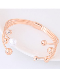 Fashion Rose Gold Pearl&diamond Decorated Simple Bracelet