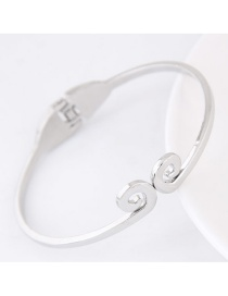 Elegant Silver Color Pure Color Decorated Simple Bracelet