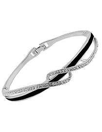 Fashion Silver Color+black Diamond Decorated Simple Bracelet