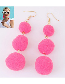 Fashion Plum Red Ball Decorated Simple Pom Earrings
