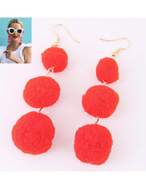 Fashion Red Ball Decorated Simple Pom Earrings