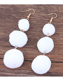 Fashion White Ball Decorated Simple Pom Earrings