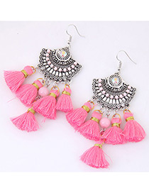Fashion Pink Tassel Decorated Simple Earrings