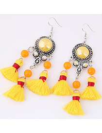 Fashion Yellow Diamond&tassel Decorated Simple Earrings