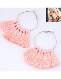 Trendy Pink Circular Ring&tassel Decorated Simple Earrings