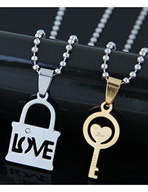 Trendy Gold Color+silver Color Key&lock Pendant Decorated Necklace