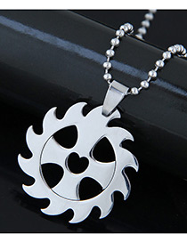 Trendy Silver Color Fire Wheel Pendant Decorated Pure Color Necklace
