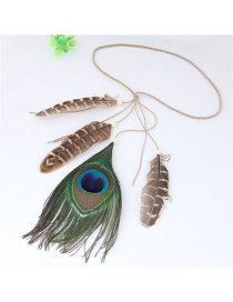 Trendy Green+gray Feathers Decorated Color Matching Hair Band