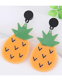 Lovely Yellow Pineapple Shape Decorated Simple Earrings