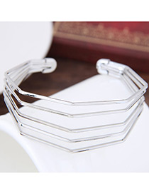 Elegant Silver Color Pure Color Decorated Multi-layer Brecelet