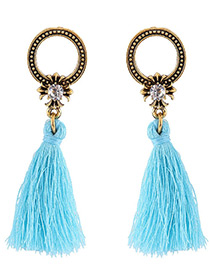 Bohemia Blue Round Shape Decorated Tassel Earrings
