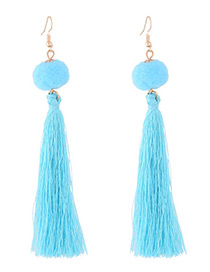 Bohemia Blue Fuzzy Ball Decorated Pom Earrings